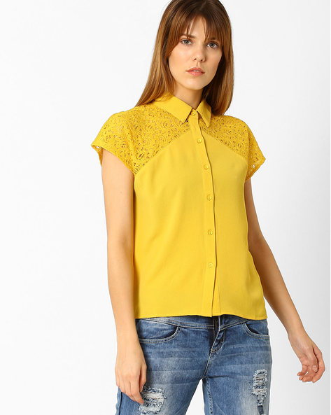 Shirt With Raglan Sleeves By Only ( Mustard )