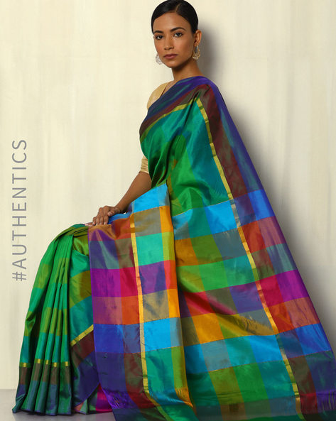 Handloom Arani Checked Pure Silk Saree By Pretty Woman ( Multi ) - 460091920001