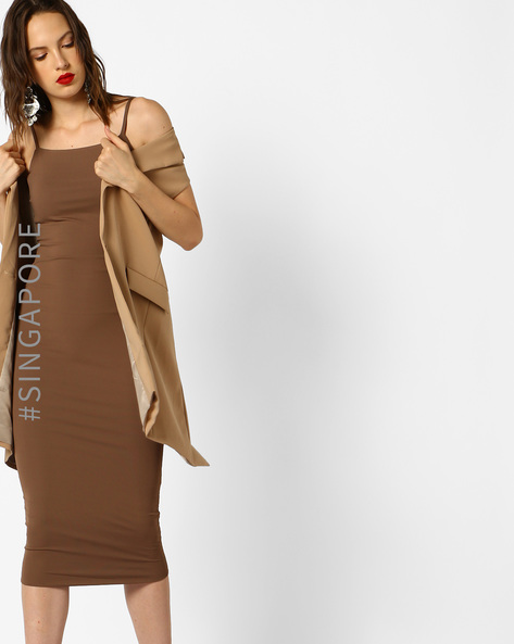 Cami Bodycon Midi Dress By MDS ( Brown )