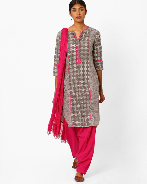 Printed Churidar Kurta With Dupatta By Jaipur Kurti ( Grey )