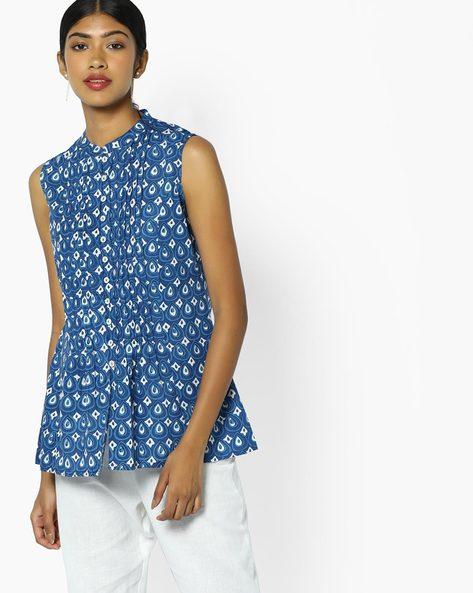 Printed Tunic With Pintucks By Omya ( Indigo )