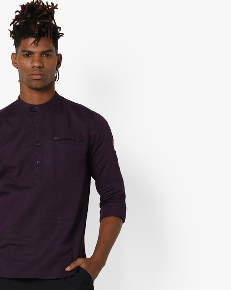 Slim Fit Shirt With Band Collar By Locomotive ( Purple )