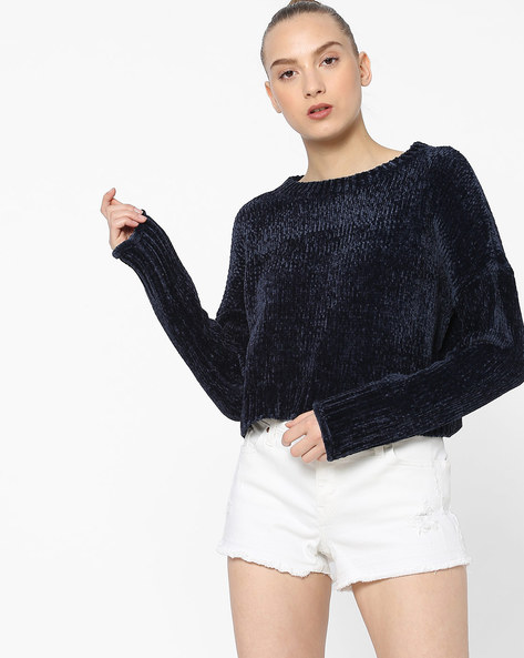 Knitted Pullover With Ribbed Hems By Only ( Darkblue )