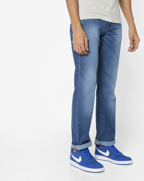 Lightly Washed Relaxed Fit Jeans By Pepe Jeans ( Blue )