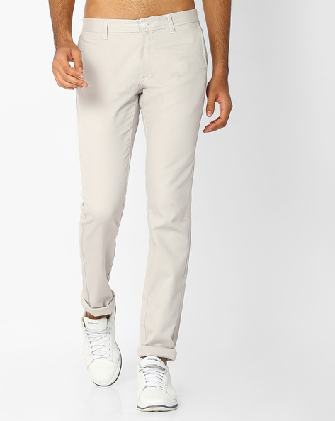 Flat-Front Slim Fit Trousers By INDIAN TERRAIN ( Lightgrey )