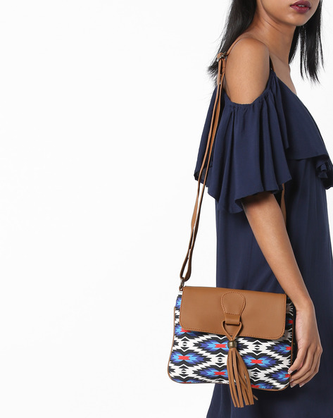 Geometric Digital Print Canvas Sling Bag By Kanvas Katha ( Tan )