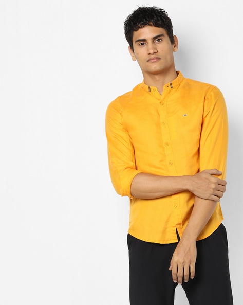Slim Fit Shirt With Band Collar By SPYKAR ( Yellow )