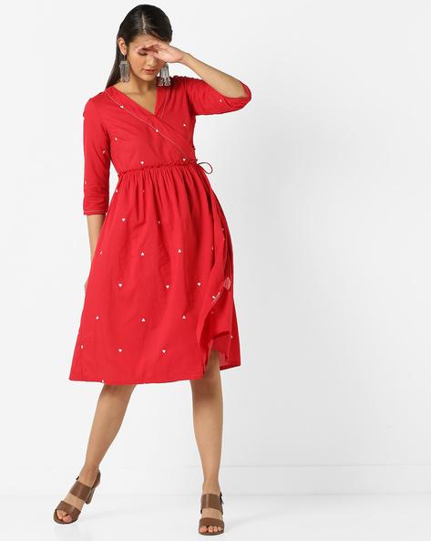 Printed V-neck Wrap Dress By AJIO ( Red )