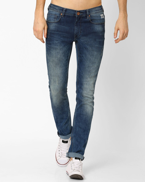 Lightly Washed Slim Fit Jeans By Pepe Jeans ( Blue ) - 460032699001