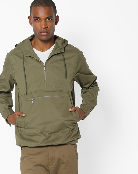 Front-Zip Hooded Jacket By AJIO ( Olive )