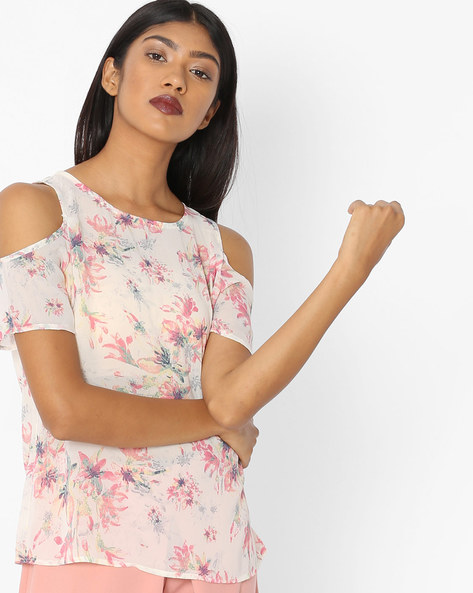 Floral Print Top With Cold-Shoulder Sleeves By Vero Moda ( Whiteswan )