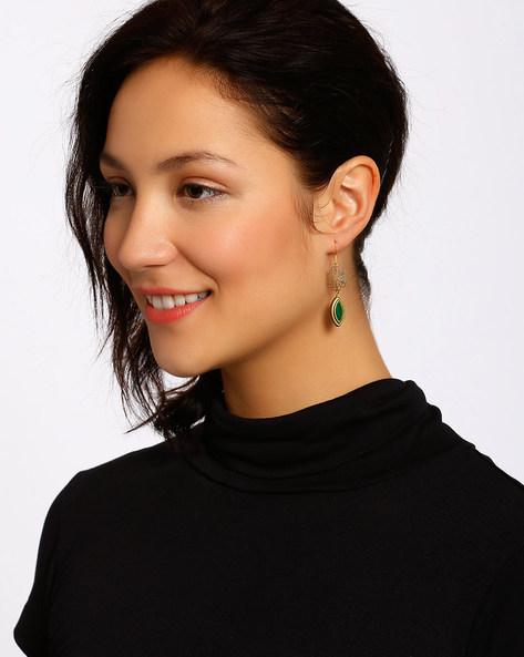 Gold-Plated Dangler Earrings By Shabnam Gitanjali ( Darkgreen )