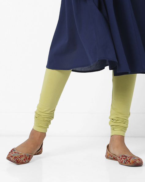 Knitted Churidar Leggings With Elasticated Waist By AJIO ( Green )