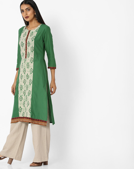 Printed Straight Kurta By Aaboli ( Green )