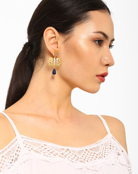 Gemstone Drop-Earrings With Cut-Outs By AJIO ( Gold )