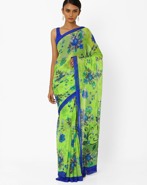 Floral Print Saree By Akoya ( Green )
