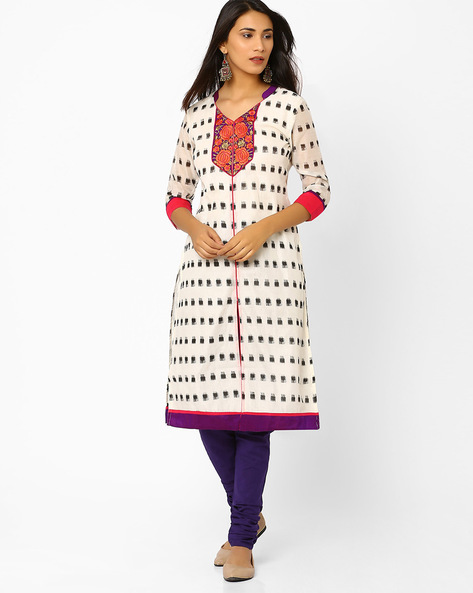 Ikat Print Kurta With Embroidery By AJIO ( Offwhite )