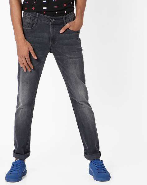 Lightly Washed Slim Tapered Fit Jeans By AJIO ( Blue )