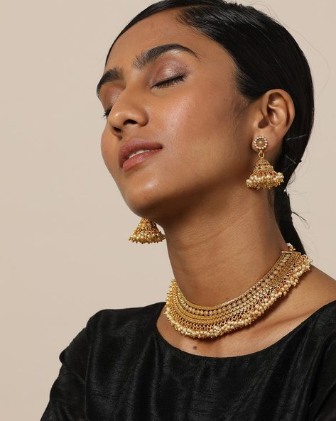 Gold-Plated Pearl Necklace Set By Rubans ( Gold )