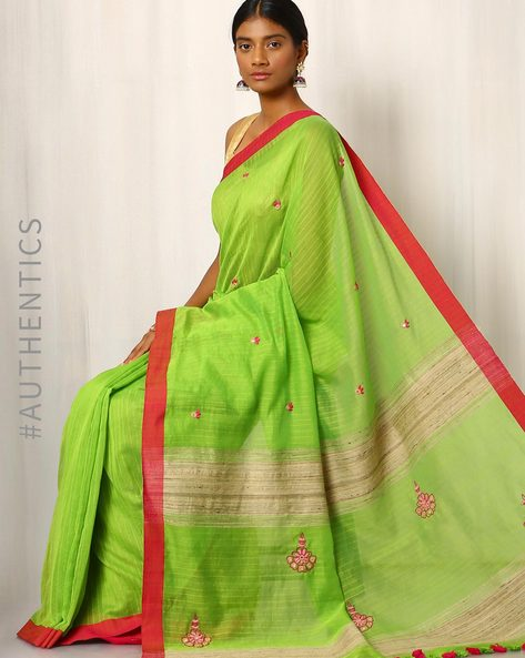 Handwoven Cotton Silk Saree With Mirrorwork By Meenakari ( Green )