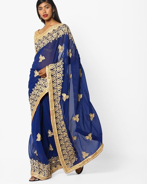 Embroidered Saree With Zari Border By CHHABRA 555 ( Navyblue )