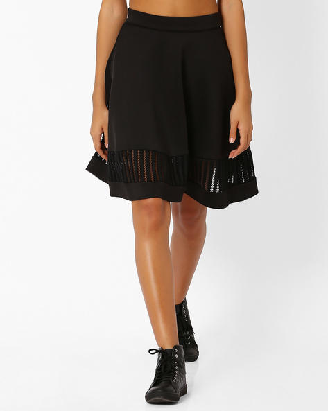 A-Line Skirt With Lace Panel By Vero Moda ( Black )
