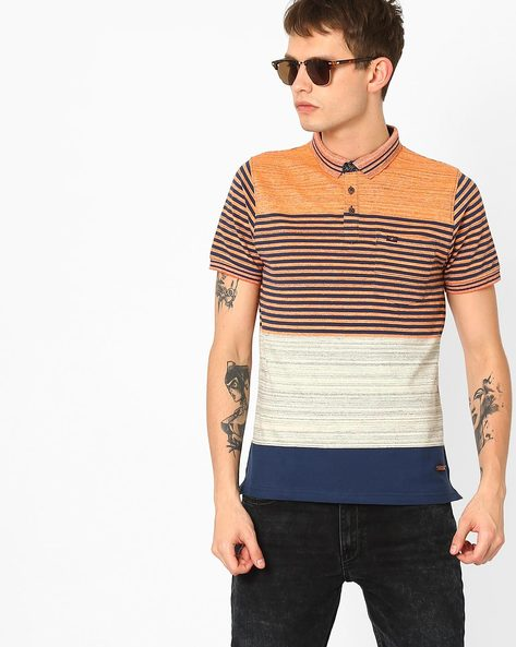 Colourblocked Polo T-shirt By Fort Collins ( Orange )