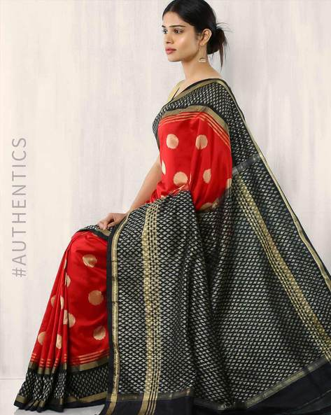 Handwoven Pure Silk Pochampally Ikat Saree By Indie Picks ( Red )