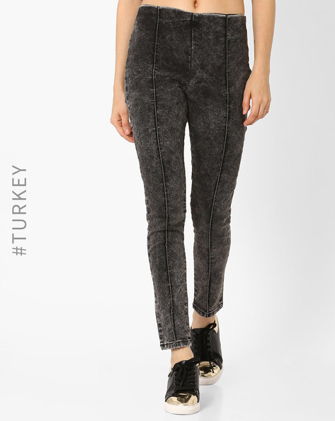 Mid-Rise Jeggings With Washed Effect By TIFFANY & TOMATO ( Grey )