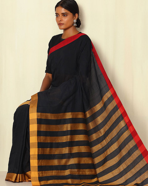 Bengal Handwoven Pure Silk And Handspun Cotton Saree By Indie Picks ( Black )