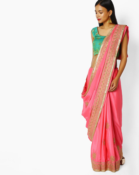Embroidered Saree With Embellishments By Majestic Silk ( Pink )