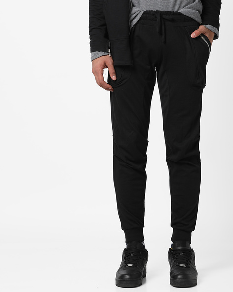 Cotton Joggers With Drawstring Fastening By Campus Sutra ( Black )