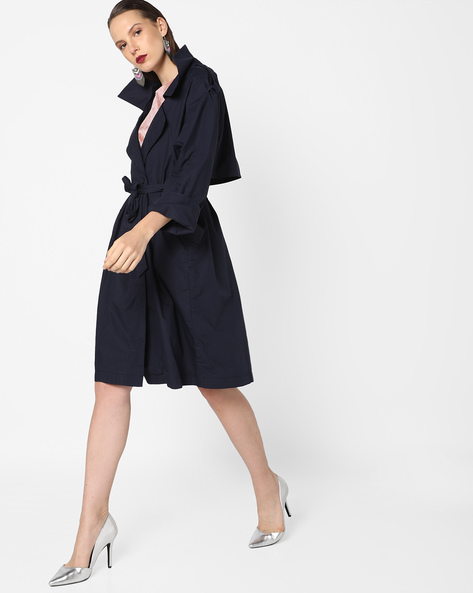 Trench Coat With Notched Lapel By Tokyo Talkies ( Darkblue )