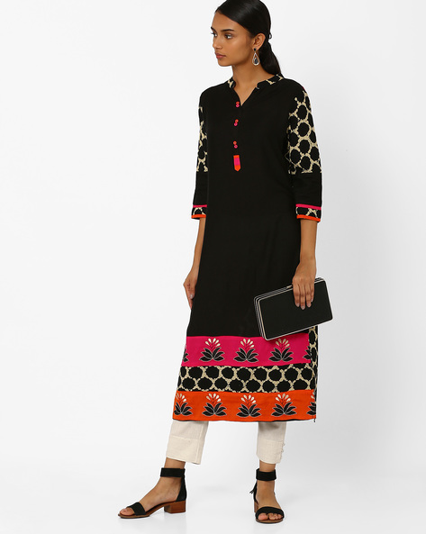 Straight Kurta With Embroidery By Kifahari ( Black )