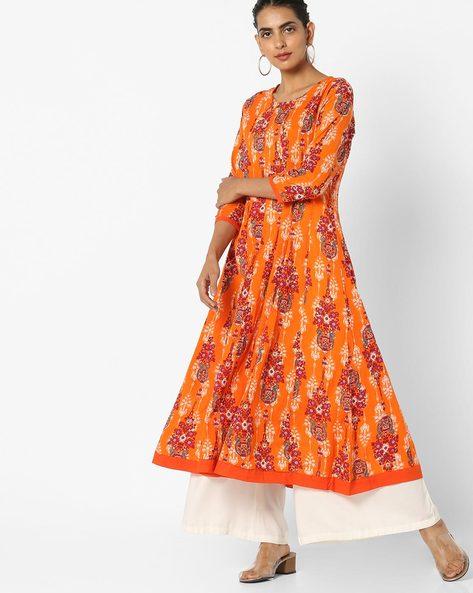 Printed Flared Kurta By Jiyaa ( Orange )