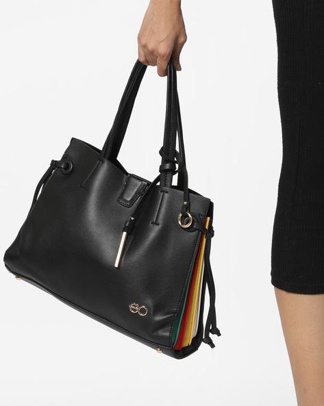 Tote Bag With Colourblock Effect By E2O ( Black )