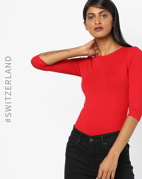 Crew-Neck T-shirt With Criss-Cross Back By TALLY WEiJL ( Red )