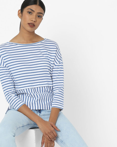 Striped Top With Drop Shoulders By AJIO ( Blue )