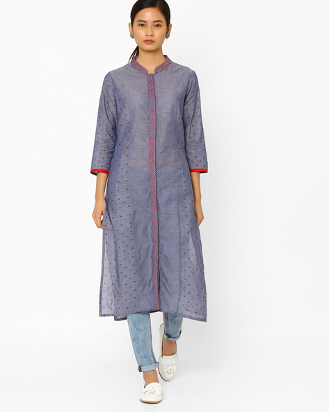 Printed Straight Kurta With Mandarin Collar By AJIO ( Blue )