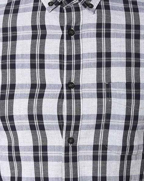 Checked Slim Fit Shirt By Celio ( Grey )