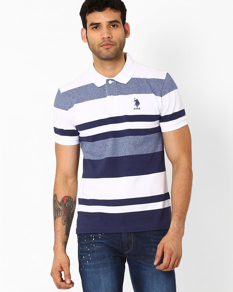 Striped Slim Fit Polo T-shirt By US POLO ( Blue )