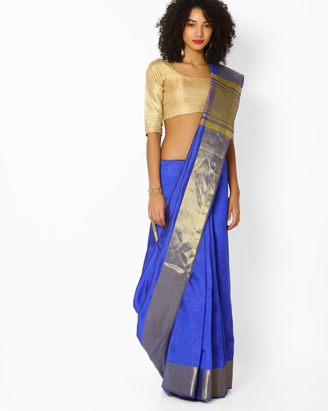 Traditional Saree With Contrast Border By Vastrangi ( Blue )