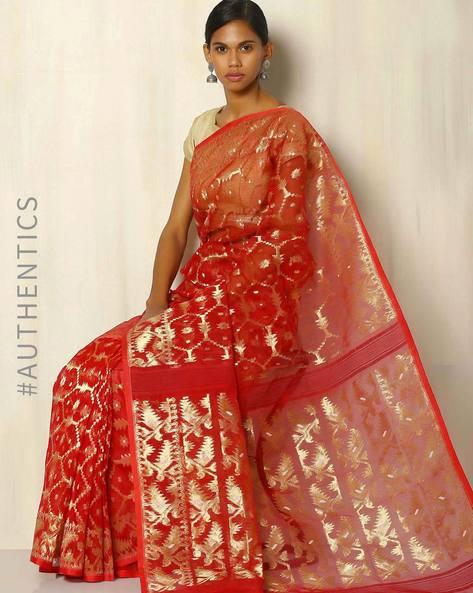 2a236d4267 Handwoven Bengal Tant Tangail Jamdani Saree By Indie Picks ( Red ...