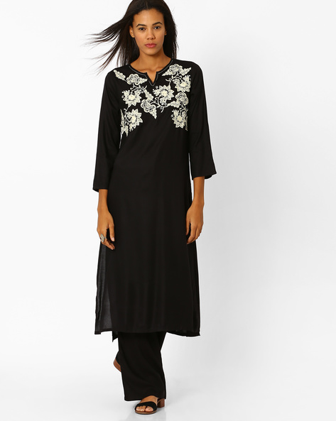 Straight Kurta With Embroidery By Global Desi ( Black )