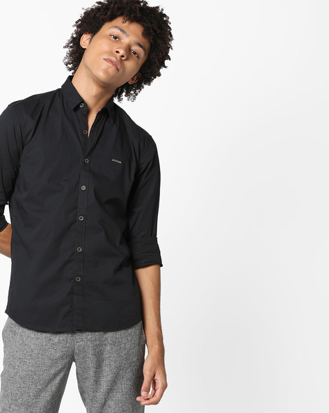 Shirt With Spread Collar By WRANGLER ( Black )