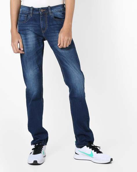 Lightly Washed Slim Fit Jeans By FLYING MACHINE ( Blue )