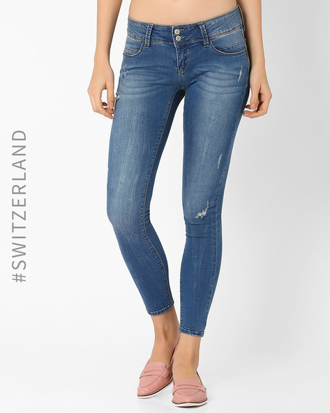 Lightly Washed Skinny Jeans By TALLY WEiJL ( Lightblue )