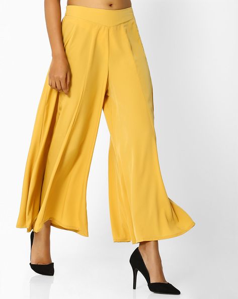 Palazzo Pants With Elasticated Waist By AURELIA ( Gold )