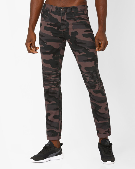 Tapered Fit Camouflage Trousers By DNM X ( Charcoal )