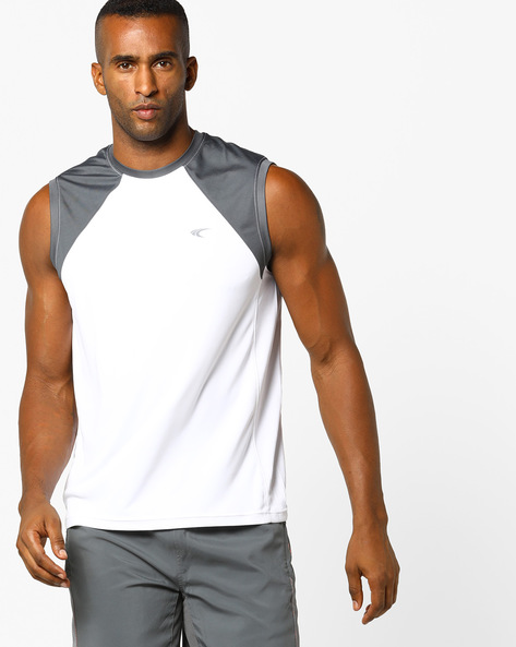 Sleeveless Training T-shirt With Contrast Panel By PERFORMAX ( White )